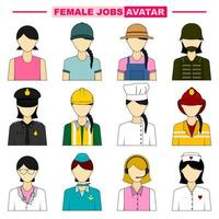 Set of Female Job Avatars vector