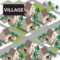 Isometric Village Map vector