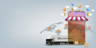 Logistics online mobile fast shipping concept