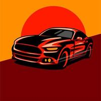 Red sports car design vector