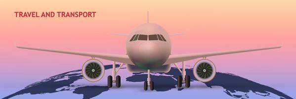 Avión en el mapa mundial como concepto de transporte vector