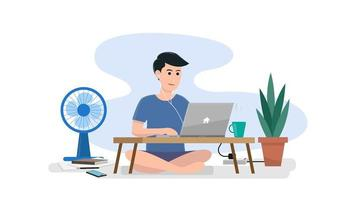 Working at home on the floor vector