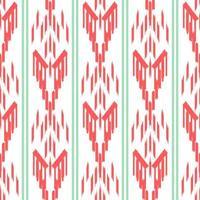 patrón sin costuras ikat verde y rojo