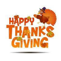 Feliz tipografía de acción de gracias con Turquía vector