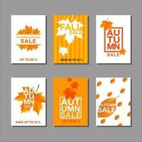 conjunto de tarjeta de venta otoño vector