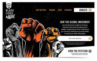 Black Lives Matter Raised Fist Landing Page