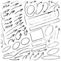 flechas dibujadas a mano, marcos y líneas vector