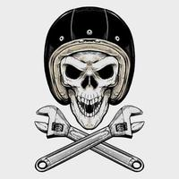 Vintage Biker Skull And Wrenches vector