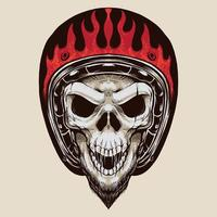 Vintage Biker Skull With beard vector