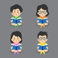 Reading Book Characters Set