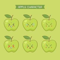 Cute Apple Characters Set vector
