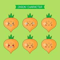 Cute Onion Characters Set vector