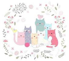 Group of Cats and Flowers