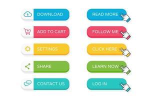 Flat website buttons vector