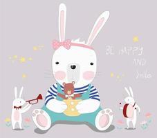Baby Rabbit with Little Bear vector