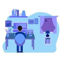 Man Working from Home vector