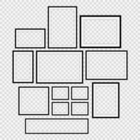 conjunto de marco de imagen negro realista vector