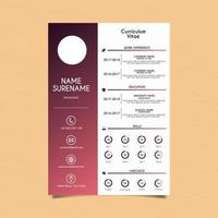 Red Gradient and White Curriculum Vitae vector
