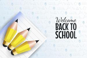 Back to school template with pencils on paper vector