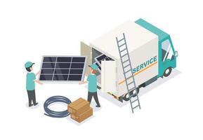 servicio de equipo de células solares trabajando vector