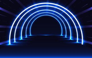 Blue neon glowing tunnel vector
