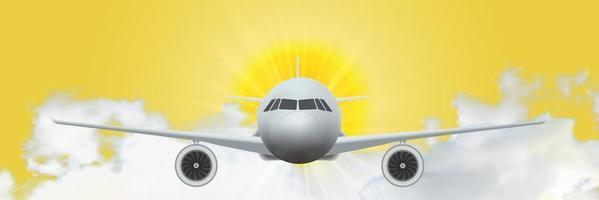 Aircraft on sunrise vector