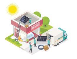 servicio de equipo de células solares vector
