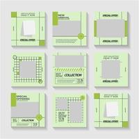 Green social media post or ad templates