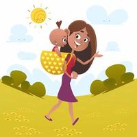 Mom walking with baby in field