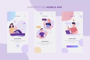 ensemble de bannière de concept d'application mobile