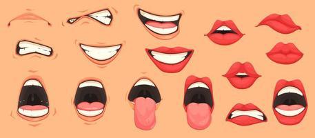 conjunto de boca de dibujos animados