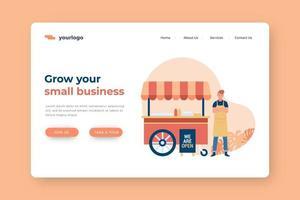 aumente sua página de destino para pequenas empresas com carrinho de comida