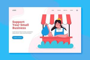 Support your small business landing page vector