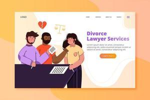 página de inicio de servicios de abogado de divorcio vector