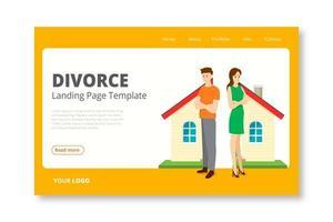 plantilla de página de inicio de divorcio en casa separada vector