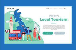 Support local tourism landing page vector