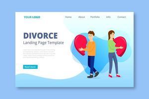 Pareja sosteniendo corazón roto divorcio página de inicio vector