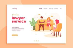 página de destino para servicios de abogados de divorcios vector