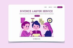 página de inicio del servicio de abogado de divorcio en tonos morados vector