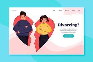 Página de inicio de divorcio con pareja en corazón roto vector