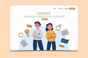 página de inicio de divorcio con pareja y artículos vector