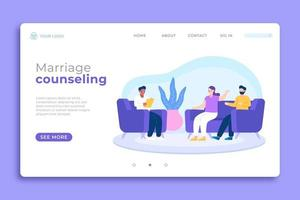 Purple and blue marriage counseling landing page