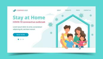 Family at home in self quarantine landing page vector