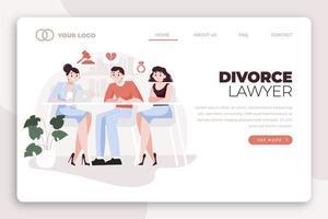 Abogado de divorcio página de inicio con iconos vector