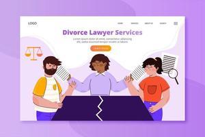 Abogado de divorcio página de inicio con mesa rota vector