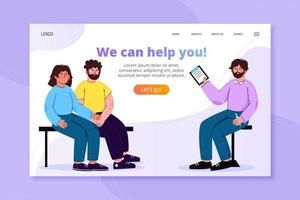 Receive help landing page template vector