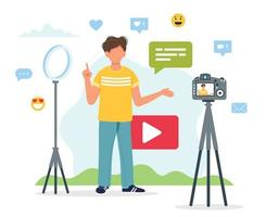 Video blogging setup with man recording vector