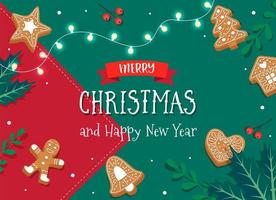 Merry Christmas card with gingerbread cookies vector