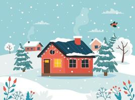 casa de invierno en paisaje nevado vector