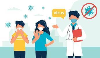 médico y personas que usan una máscara médica